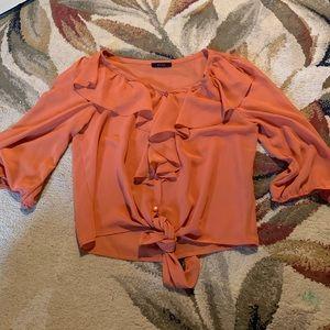 mine orange button up blouse small